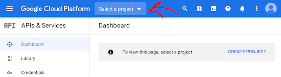 Select new Google project