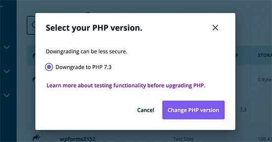 Mettre à niveau ou rétrograder la version PHP dans WP Engine