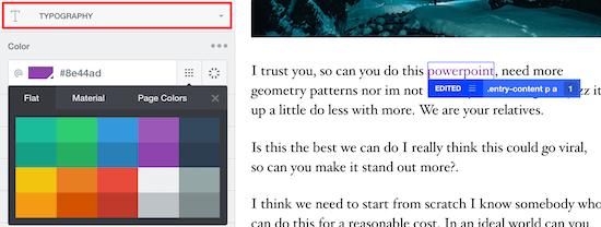 Sélectionnez l'option de typographie