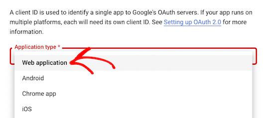 Select web application drop down