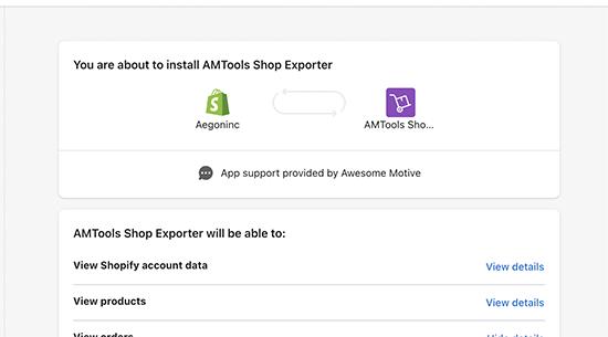 Autorisations de l'application Shopify vers WooCommerce