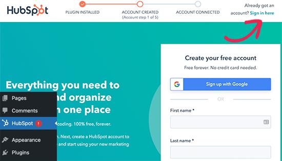 Connectez-vous à votre compte HubSpot