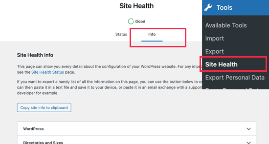 Section d'informations sous l'outil WordPress Site Health