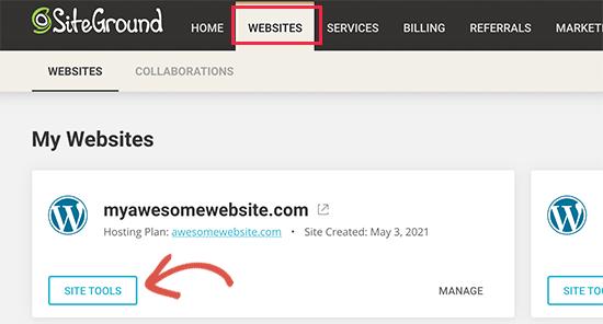 Section Outils du site sur SiteGround