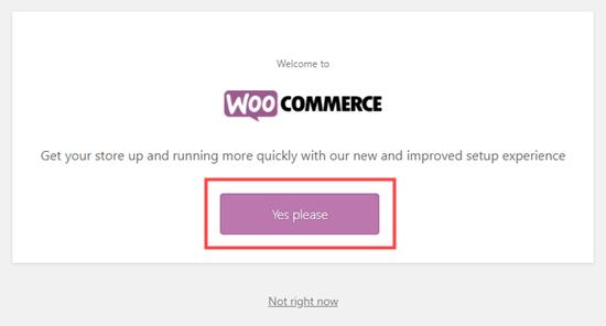 Cliquez sur le bouton pour démarrer l'assistant d'installation de WooCommerce