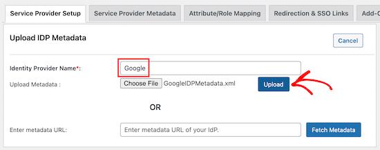 Upload metadata file