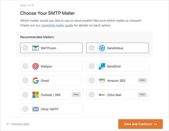 Choisissez votre service de messagerie SMTP