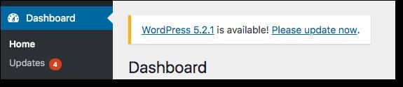 avis de mise à jour essentielle de wordpress