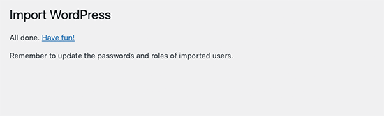 Importation WordPress réussie