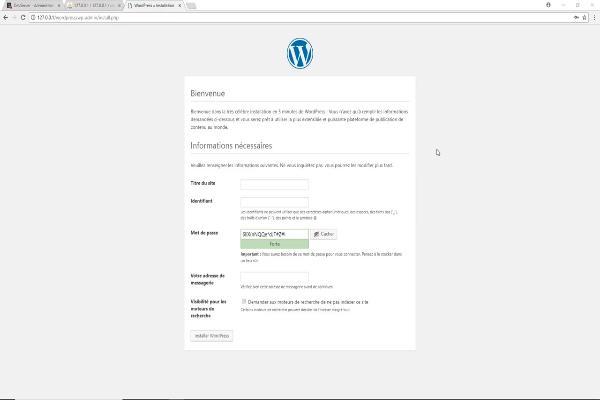 page d'installation de wordpress ou il