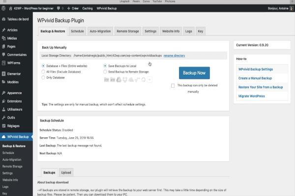 des backups de restaurer votre site